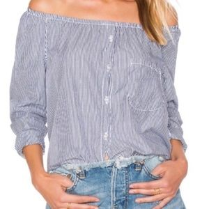 NSF Babette Striped Off The Shoulder Button Up Top